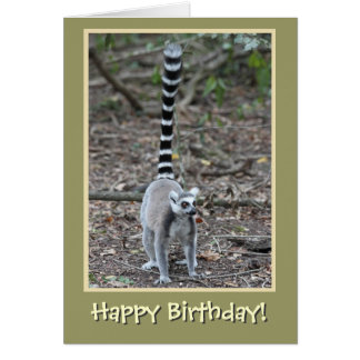 Ring-Tailed Lemur Happy Birthday Card
