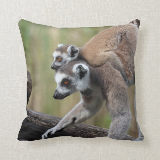 Ring-Tailed Lemur Mother And Baby Cushion