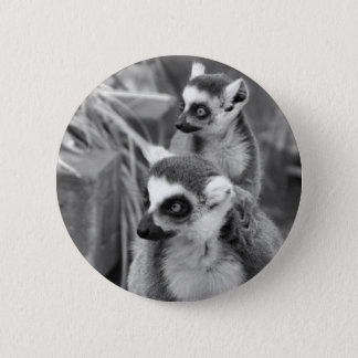 Ring-tailed lemur with baby black and white 6 cm round badge