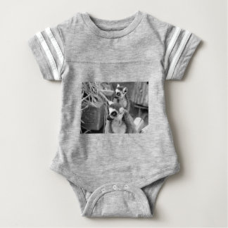 Ring-tailed lemur with baby black and white baby bodysuit