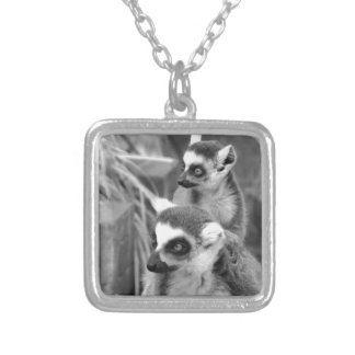 Ring-tailed lemur with baby black and white silver plated necklace