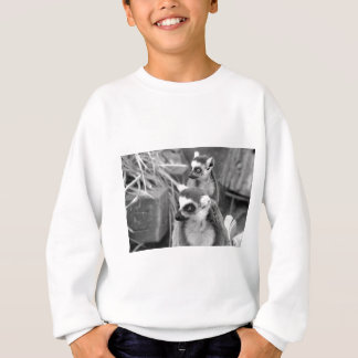 Ring-tailed lemur with baby black and white sweatshirt