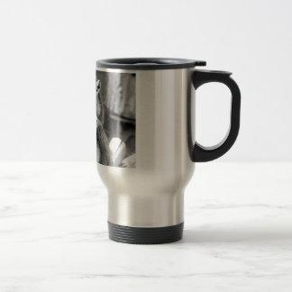 Ring-tailed lemur with baby black and white travel mug
