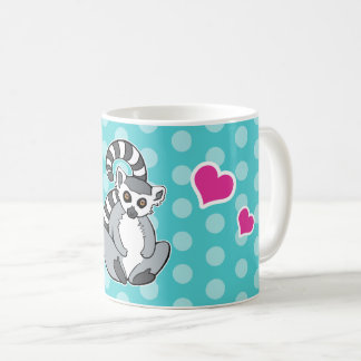 Ring-Tailed Lemur With Hearts On Aqua Polka Dots Coffee Mug