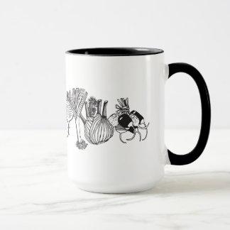 Ringer Mug with the HandDrawn Vegan Food Print On