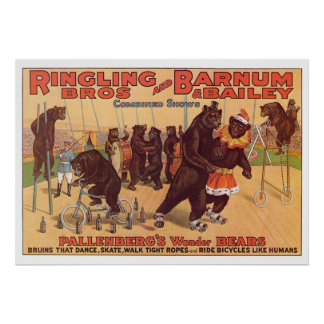 Ringling Bros. Wonder Bears Advertisement 1920's Poster