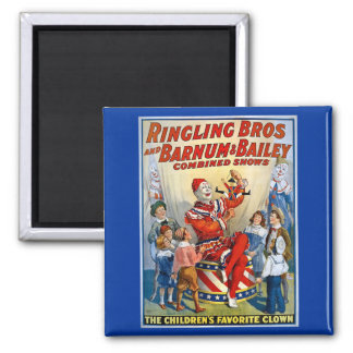 Ringling Brothers & Barnum & Bailey Vintage Clown Square Magnet
