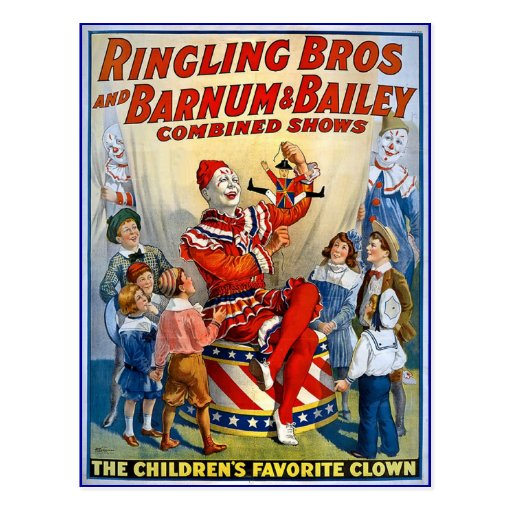 Ringling Brothers & Barnum & Bailey Vintage Clowns Post Cards