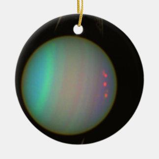 Rings and Moons Circling Uranus Ceramic Ornament