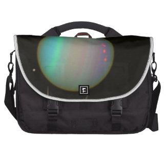 Rings and Moons Circling Uranus Laptop Shoulder Bag