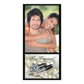 Rings and White Pearls Engagement Announcement Photo Card Template