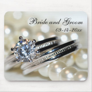 Rings and White Pearls Wedding Mouse Pad