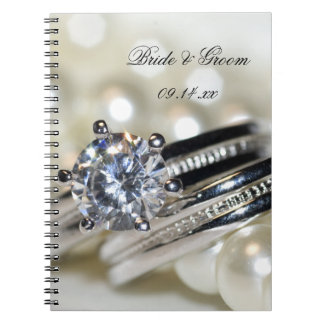 Rings and White Pearls Wedding Notebooks