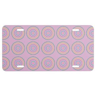 Rings Pattern pink License Plate