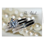 Rings White Pearls Engagement Announcement Card