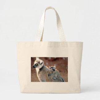 Ringtail Lemur And Baby Large Tote Bag