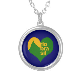 rio 2014 brasil silver plated necklace