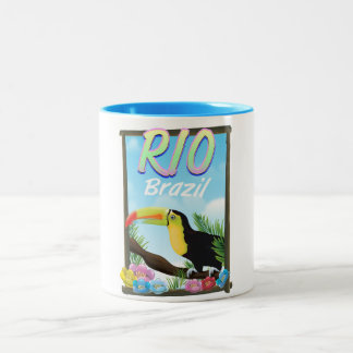 Rio Brazil Toucan travel poster Two-Tone Coffee Mug