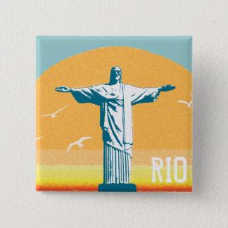Rio - Corcovado - Jesus Christ the Redeemer 15 Cm Square Badge