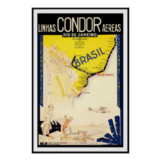 Rio De Janeiro Brazil Linhas Condor Aereas Poster