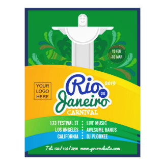 Rio de Janeiro Carnival custom add logo and photo Flyer