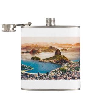 Rio De Janeiro Cityscape View Hip Flask