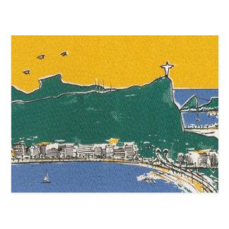 Rio De Janeiro green and yellow Brazil Postcard