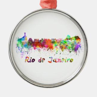 Rio de Janeiro skyline in watercolor Metal Ornament