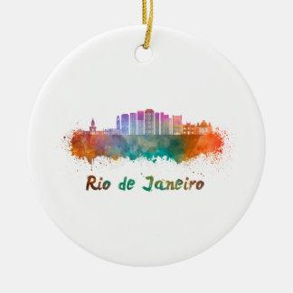 Rio de Janeiro V2 skyline in watercolor Ceramic Ornament