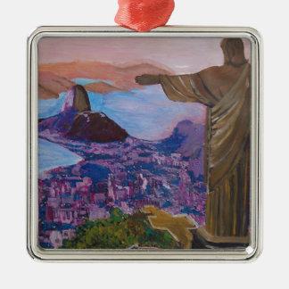 Rio De Janeiro With Christ The Redeemer Metal Ornament