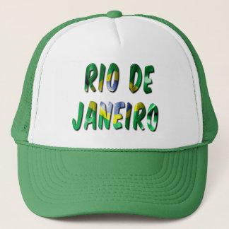 Rio de Janeiro Word With Flag Texture Trucker Hat