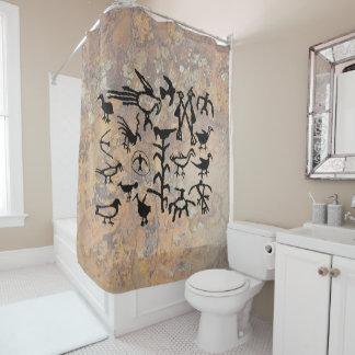 Rio Grande Bird Petroglyphs Shower Curtain