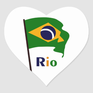Rio, multicolored text heart sticker