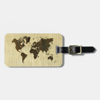 Rio Rosewood and Curly Maple World Map.jpg Luggage Tag