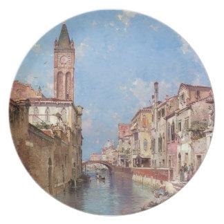 Rio Santa Barnaba, Venice by Franz Unterberger Dinner Plates