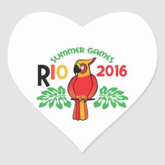 Rio Summer Games Heart Stickers