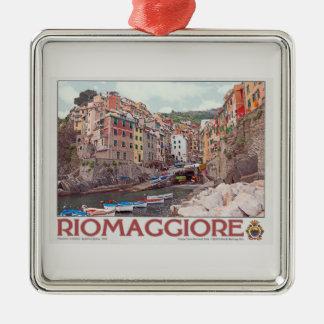 Riomaggiore Harbor - on White.jpg Metal Ornament