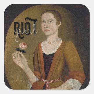 Riot Grrrl Girl Square Sticker