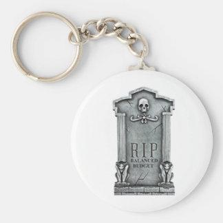 RIP BALANCED BUDGET GRAVESTONE PRINT BASIC ROUND BUTTON KEY RING
