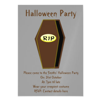 RIP Halloween Coffin of Doom Party Invites Magnetic Invitations