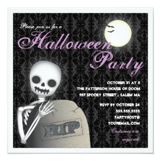 RIP Halloween Party Skeleton and Full Moon 13 Cm X 13 Cm Square Invitation Card