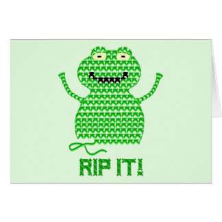 Rip It! Vector Crochet Frog (Green Background) Card