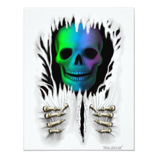 RIP SKELETON 11 CM X 14 CM INVITATION CARD