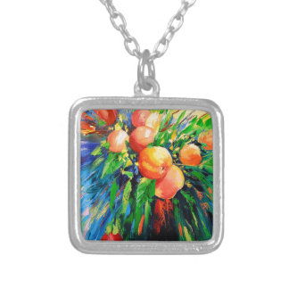 Ripe apples silver plated necklace