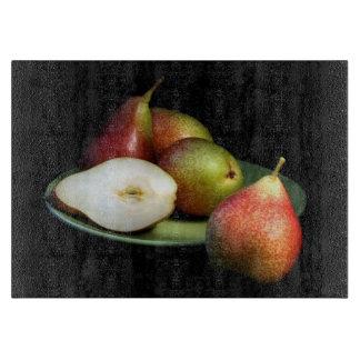 Ripe, luscious pears glass cutting board
