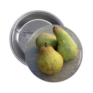 Ripe pears 6 cm round badge