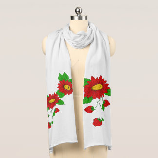 Ripe Strawberries and Red Flowers Scarf