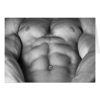 Ripped Bodybuilder & Fitness Model Chest On Card