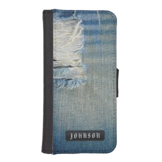 Ripped Denim Blue Jeans with Shredded Threads iPhone SE/5/5s Wallet Case