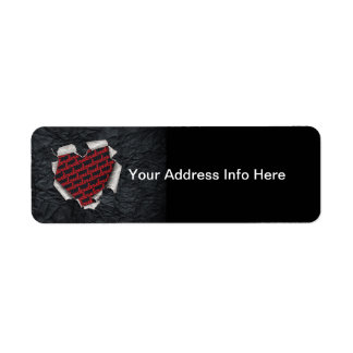 Ripped Heart Return Address Label